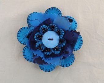 Turquoise and Black Fabric Brooch