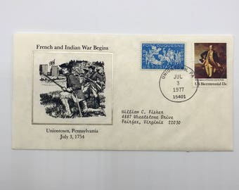 French and Indian War | George Washington | 1 Vintage 1977 American Bicentennial Issue First Day of Issue Envelope with 2 Stamps