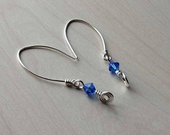 Elegant wire wrap copper earrings silver and translucent blue glass beads