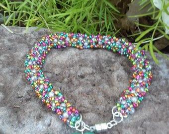 Multi-colored Woven Beaded Bracelet