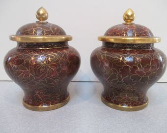 Set of 2 Jingfa Antique Chinese Covered Cloisonne Vases - Original Box 4 1/2 inches