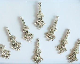 8 Long Silver Face Jewels,Wedding Bindis,Stone Bindis,Silver Bindis,India Bindis,Bollywood Bindis, Long Bindis, Self Adhesive Stickers Packs