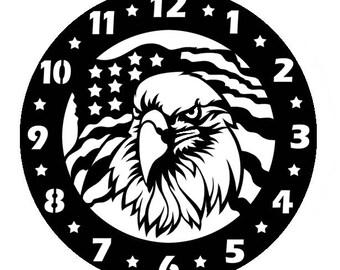 Bald Eagle Clock 18 in. Plasma Cut Metal Wall Art