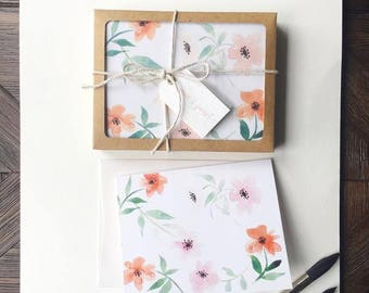 Blank Floral Stationery - Set of 10