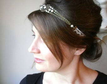 Cream headband wedding jewelry romantic retro and vintage French lace and glass beads