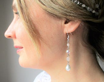 Earrings wedding spirit Bohemian romantic beads with crystal clear/pink blush/ivory-premium silver.