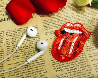 red sticking tongue out sequin patch/shining patch/jacket patch/iron on patch/punk patch/cartoon patch/DIY