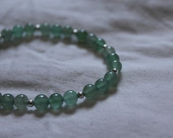 Gemstone Bead and Silver-Plated 6mm Beaded Metaphysical Bracelet