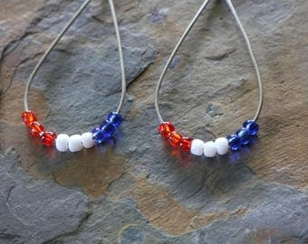 Red, white and blue wire earrings