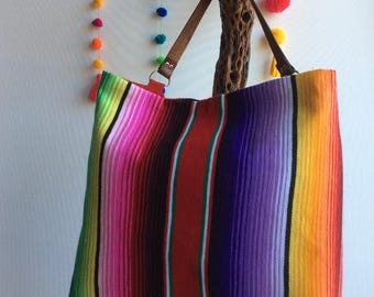 Mexican serape blanket bag with leather handle
