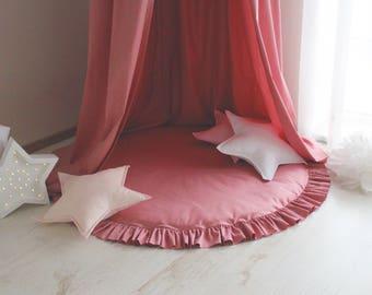 Deep Rose play mat / Round play mat / Soft play mat / Floor mat / Play mat with ruffle / Kids play mat / Kids rug / Nursery / Kids room