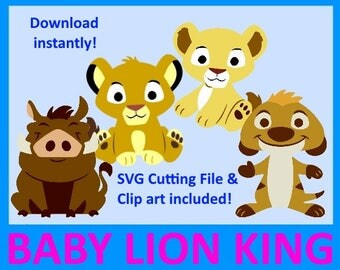 Baby Lion King SVG, Baby Lion King Clip art, Lion King baby shower, baby Simba, Baby Nala, Baby Timon and pumba, Digital Clip Art, PNG, SVG