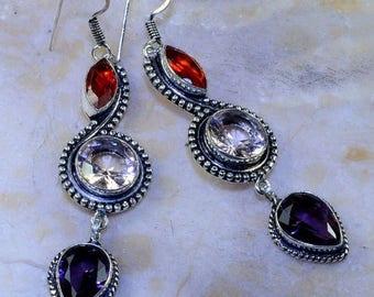 Peach earrings in silver, Garnet, amethyst and quartz
