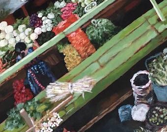"Guatemalan Market Original Acrylic Painting on Canvas 12 x 24"""