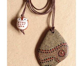 Hand Painted Irish Pebble Pendant