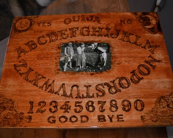 Creepy Photo Ouija Board TV tray