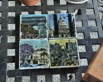 Set of 4 Paris Photo Art Tile Coasters