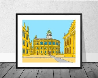 Oxford Art Print, Oxford Illustration, Sheldonian Theatre, Oxford University, Wallart, Home Décor, Graduation Gift, Illustration Print