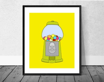 Sweets Art Print, Gumball Machine Art, Kitchen Art Print, Children's Room Art Print, Sweet Machine, Gumball Machine, Quirky Illustration
