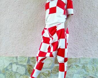 Harem Pants with top / Elegant set of 2 parts -pants and blouse /Comfortable crotch pants / Plus Size Pants / Baggy trousers / color chess b