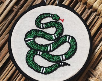 Green Snake Hand Stitched Embroidery