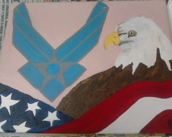 US Air Force/Flag/Eagle with pale pink background