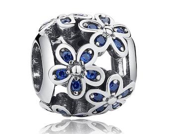925 Sterling Silver Daisy Plant Flower Charms Fit Pandora bracelet
