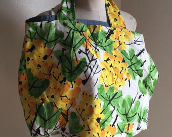 Large Green Floral Tote