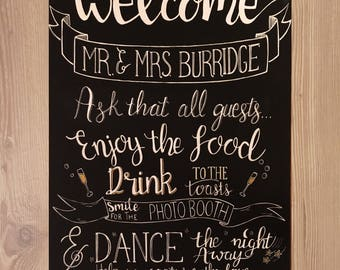 Welcome to our wedding chalkboard, welcome sign, wedding sign, personalised chalk board