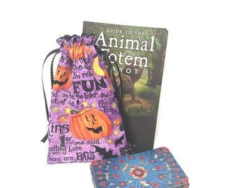 Pumpkins Tarot Bag, Tarot Pouch, Tarot Deck, Tarot Card Pouch, Tarot Card Holder, Tarot Deck Box, Runes, Runes Bag, Witchcraft Supplies