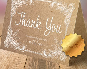 Rustic Foil Thank You Cards with Envelopes (set of 10)