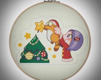 026 - Christmas tree, Leg Cat & Violet - cross stitch pattern