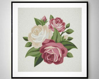 Rose cross stitch pattern, flowers cross stitch, pdf instant download, modern cross stitch. #010