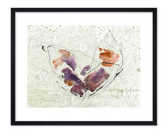 Beijing Spirit - Map of Beijing Poster - Map Art - Watercolor Prints - Purple Butterfly - China