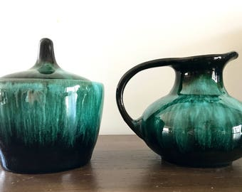 Vintage BMP Creamer and Sugar Bowl | Traditional Glaze | Blue Mountain Pottery | Coffee | Tea