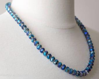Blue Faceted Crystal Necklace, Blue Swarovski Elements Necklace, Blue Crystal Beaded Necklace, Wedding Necklace