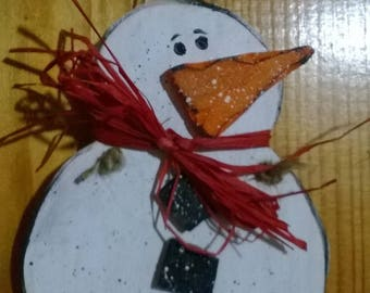 """Ti' vintage Snowman"" painted wooden fretwork"