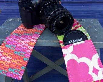 Camera Strap Cover with Lens Pocket Ready to Ship Canon Nikon DSLR Photographer Photography #102 Pink Orange Floral Paisley Tula Pink Fabric