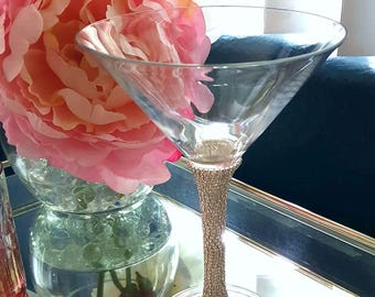 Crystallized Martini Glasses - Martini Glasses - Bling Stemware - Wedding Stemware - Stemware - Cocktail Glasses
