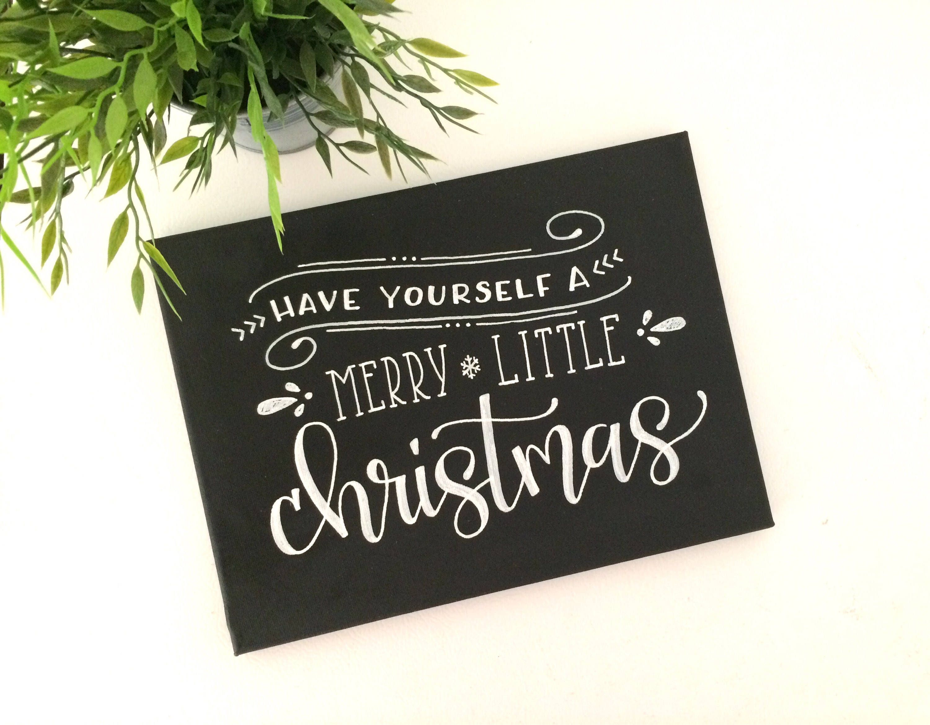 Merry Little Christmas Freehand Painted Canvas Decor Holiday
