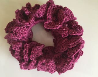 Crochet hair scrunchie 100% cotton