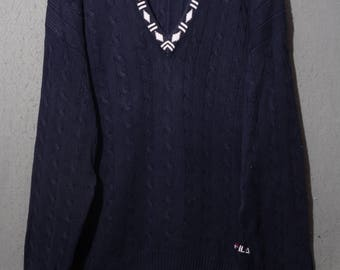 FILA vintage 80s pullover sweater sz xl tennis-sweater (s2513)
