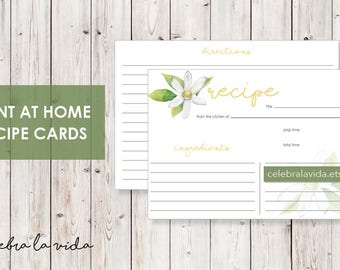 Recipe Card. Instant Download. Printable Recipe Card. Green and Yellow.