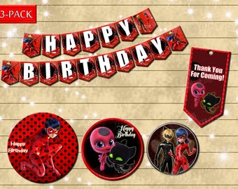 Miraculous - DIY ladybug birthday party decoration - banner- favor tag- Digital file for print
