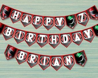 Power rangers banner - DIY happy birthday decoration - digital file printable