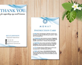 PERSONALIZED Monat Care Instruction, Monat Care Card, Monat Thank you card, Fast Free Personalization, Custom Monat Hair Care Card MN04