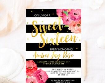 Kate Sweet sixteen birthday invitation, sweet sixteen birthday invite,  Sweet Sixteen birthday invitation, pink birthday invitation