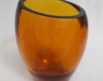 Lucite Golden Amber Angled Rim Vase