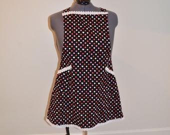 Handmade Black Polka Dot Apron