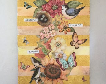 Thankful, Grateful, Blessed - Mixed Media Canvas